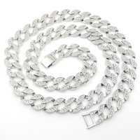 Wholesale Solid Gold Pave Diamond - 14K White Solid Fine Gold FINISH Iced Out CUBAN Miami Chain Link Micro Pave Lab Diamond Necklace Long 30INCH 15MM Wide