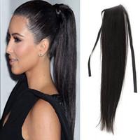 Wholesale Extension Clips Pcs - 7A Human Hair Ponytail Wig Natural Black 100% Remy Ponytail Human Hair Extension 100g Pcs Clip In Hair Extensions