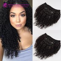 Wholesale European Clip Curly Hair - 7pcs kinky curly clip in human hair extensions Kinky curly Clip in human hair virgin human hair extensions for black women