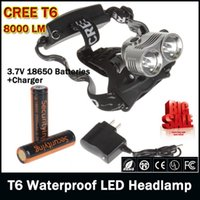 Wholesale Led Headlights Orders - T6 8000 Lumens LED Headlamp Headlight Waterproof Securitylng CREE XM-L With 2PCS 2600mAh 3.7V 18650 Rechargeable Batteries order<$18no track