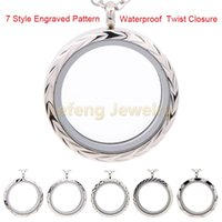 Wholesale Twist Glass Stainless Steel Locket - Wholesale-New Design 30mm Waterproof Plain Brushed Silver Floating Locket,316L Stainless Steel Twist Memory Glass Lockets Pendant P164