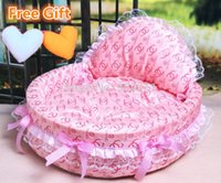 Wholesale Princess House Pets - 2015 HOT SALE luxury dog princess bed lovely cool dog pet cat beds sofa teddy house free heart pillow free gifts!