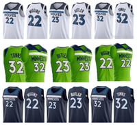 Andrew Wiggins maglie 22 mens Camicie da basket Best Karl-Anthony Towns 32 Jimmy Butler 2018 New Timberwolves colore Blu Bianco verde