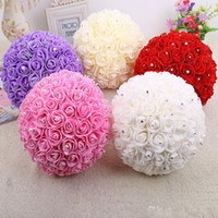 Wholesale Red Wedding Set Bouquet - 2015 Wedding Bridal Bouquets Sets Flowers Satin Rose Rhinestones Beads Pearls Pink Red White Purple Champagne Holding Bouquet high quality