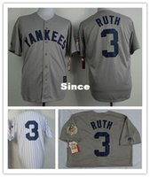 sport ruth - 30 Teams Babe Ruth Jersey Gray Top quality Men Sport shirt NYY Authentic Stitched Jersey Baseball Embroidery Logo