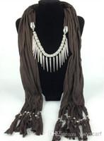 Wholesale Pendant Scarves Accessories - 2015 Pendant Scarf Jewlery Scarves Necklace Match Scarfs Women Charm Accessories Six Colors 12 Pcs Lot
