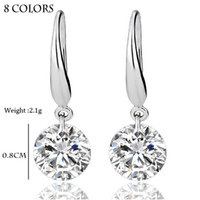 S925 anneau en argent sterling Real Solid 925 Sterling Silver Wedding Engagement Earring 2Ct Princess Cut Créé Diamond Jewelry Wholesale Free