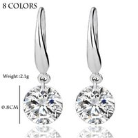 Wholesale Dangle Chandelier Sterling Silver - S925 sterling silver ring Real Solid 925 Sterling Silver Wedding Engagement Earring 2Ct Princess Cut Created Diamond Jewelry Wholesale Free