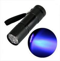 lanterna de luz negra ultravioleta venda por atacado-Nova Chegada Mini Alumínio Portátil UV Ultra Violeta Blacklight 9 LED uv Lanterna Tocha Luz lâmpada lanterna tocha lâmpada ultravioleta