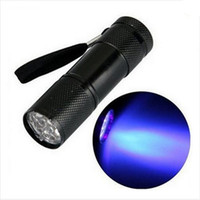 siyah ışık lambaları toptan satış-Yeni Varış Mini Alüminyum Taşınabilir UV Ultra Violet Blacklight 9 LED uv El Feneri Torch Işık Lambası el feneri lambası torch ultraviyole