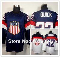 Wholesale Jonathan Quick Olympic Jersey - 2016 Olympic Jonathan Quick USA Jersey Stitched Sochi Team USA Jonathan Quick Olympic Jersey Best Quality American Hockey Jersey