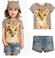 Wholesale Kids Leopard Trousers - wholesale 2016 Girls Kids Jeans Sets Clothing Girl Children Cotton Leopard T-shirts Set Enfant Clothes Pants Trouser Suits Apparel