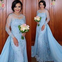 2017 Baby Blue Dubai Spitze Meerjungfrau Formale Abendkleider mit Overskirt Sheer Neck Long Sleeves Appliques Perlen Prom Party Pageant Kleider