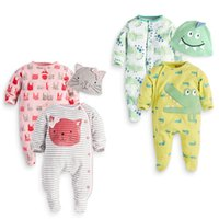 Wholesale quality infant clothing - NEW ARRIVAL 2 Designs infant KidsCotton 3 Piece Set Long Sleeve Romper + hat High Quality baby Climb clothing Comfortable boy girls Romper