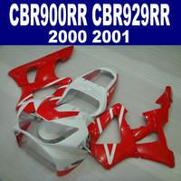 honda cbr 929 обтекатель красный оптовых-Высокое качество обтекатель комплект для HONDA CBR900RR CBR929 2000 2001 bodykits CBR 929 RR CBR929RR красный белый обтекатели набор HB2