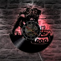 Wholesale interior wall color - Cute Pug Dog LED Vinyl Clock Lighting Color Change Wall Light Remote Controller Modern Backlight Living Room Interior