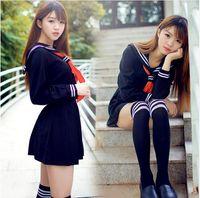 Wholesale Japanese Women Sexy Clothing - Japanese sailor suit Anime costume Girls High school student uniform Long-sleeve JK uniform sexy clothing navy color