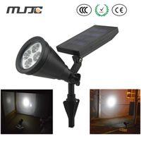 Wholesale Led Solar Outdoor Spot Light - Solar Garden Lamp Spot Light Outdoor Lawn Landscape Path 4-LED Spotlight Black