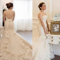 Wholesale Strapless Lace Mermaid - Vintage Lace Mermaid Wedding Dresses 2015 Strapless Backless Chapel Train Appliques Ribbon Ruffles Bridal Dresses Custom Made Wedding Gowns