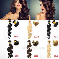 Wholesale Tipped Hair Body Wave - Wholesale- 1g s 100g pack 14''- 24'' 100% Human Hair u Tip Hair Extensions Remy Indian Factory Price body wave nail u Tips Hair dhl free