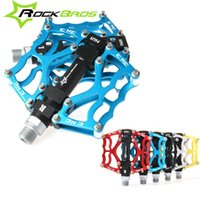 """Wholesale Bmx Bicycle Pedals - RockBros MTB BMX DH Bike Parts Aluminum Body Axle 9 16"""" Cr Mo Spindle Cycling Seald Bearing Bike Bicycle Pedal, 5Colors 133"""