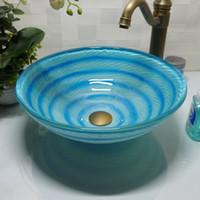 lavabo de baño de vidrio redondo al por mayor-Fregadero de cristal templado para baño artesanía encimera lavabo redondo lavabos aseo champú recipiente cuenco HX006