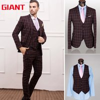 Wholesale-Fashion Hotel braunen Kleid passt Geschäfts Marke Mens Suit Set Grid (Jacke + Hose + Weste) Blazer Men Jacket und Pant GM332