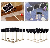 Wholesale Chalkboard Tags Wholesale - 5pcs set 3 Shapes Wooden Chalkboard Backboard Wedding Party Table Decor Message Number Tag