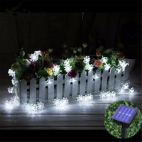 Wholesale-6M 30 LED Solarenergie Licht Lotus Blume Outdoor LED String Licht Weihnachten String Fairy Light Party Decor Lampe