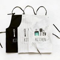 Wholesale Men Kitchen Apron - Kitchen Aprons Women Men Apron Commercial Restaurant Home Bib Spun Cotton Linen Letter Print Apron Cooking Apron OOA3681