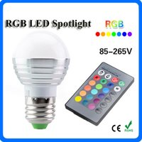 Wholesale green led bulb e14 - 3W LED RGB E27 LED Bulb AC 85-265V LED Bulbs Lights Dimmable Remote Control Spot Light for Home Party