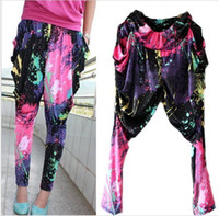 Wholesale Neon Harem Pants - New Fashion Brand Jazz harem women hip hop pants dance doodle spring and summer loose neon patchwork candy colors sweatpants FREE SHIPPING