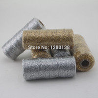 Wholesale Craft Bakers Twine - 50pcs Bakers Twine 12ply(110yard Spool) Metallic Gold Metallic Silver Craft Gift Packaging Spools