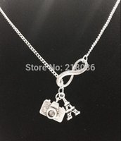 Wholesale camera chain jewelry online - 10PCS Vintage Silver Infinity Camera Lens Eiffel Tower Charms Choker Sweater Chain Couple Necklaces Pendants For Women Clothing Jewelry L460