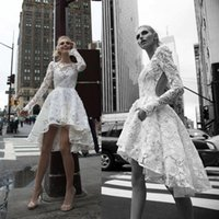 Wholesale Inbal Dror Backless Wedding Dresses - High Low Inbal Dror Wedding Dresses Illusion Bateau Long Sleeve Backless Lace Wedding Gowns A-Line Appliqued Bridal Dress