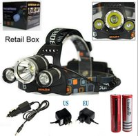 Wholesale 3x Xml T6 - 5000LM 3X CREE XML T6 LED Headlamp Headlight 4 Mode Head Lamp +AC Charger +2*18650 battery +18650 dual Charger for outdoor Sport