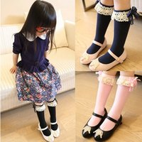 Wholesale Girls Lace Long Socks - 6 color Girls cartoon Lace bowknot Long socks 2015 NEW lovely Girls cartoon Lace Pure cotton Long socks (choice you need size) B001