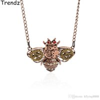 Wholesale Antiqued Copper - Steampunk Jewelry Bumblebee Honey Bee Charm Pendant Necklace Gold Gears Watch Parts Vintage Antiqued Style STPK15003