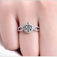 Wholesale Round Brilliant Ring - Visisap Rings for women 2ct round stone CZ brilliant White gold plated ring wedding Engagement rings fashion jewelry VSR076