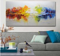Wholesale Oil Painting Frame Knife - Thick Textured Palette Knife Hand Painted Modern Abstract Oil Painting Canvas Wall Art Picture Gift Home Decor No Framed a08