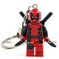 Wholesale-2016 Hot Movie Super Hero Armed Deadpool Yellow Deadpool Minifigures Porte-clés Custom Ring DIY Handmade Building Blocks Toys