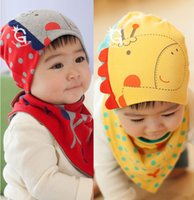 Wholesale Wholesale Scarf Sets - Wholesale-Retail Free Shipping Giraffe Baby Beanie and Bandana Bibs Hat Sets for Baby Girls and Boys
