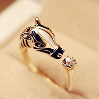 Wholesale Horse Horns - Wholesale- Animal Fashion Rings Horse Head Crystal Women's Adjustable Ring Fashion Jewelry