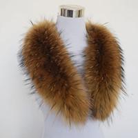 collares de piel real bufandas al por mayor-2019 al por mayor la bufanda del invierno de las mujeres de manera adulto sólido caliente! 80cm grande verdadera del 100% de cuello de piel de mapache auténtica real del abrigo del mantón de Grandes QS-103