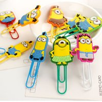 Wholesale Silicone Bookmark - 10 models Despicable Me Minions paper clip safe Silicone Pin children Bookmarks card Invoices folder Sealing clip School Supplies 200050