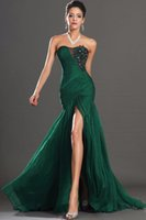 Wholesale Sexy Sophisticated Prom Dresses - Sophisticated Dark Green Prom Dresses Chiffon Sweetheart Applique and Beaded Mermaid Style Evening Gowns with High Side Split