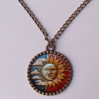 Wholesale Kiss Charm Pendant - wholesale Sun and Moon Necklace Kissing Charm Pendant Yoga Men Love Pendant Jewelry Chain Picture Photo Art Distributor New 2016
