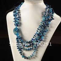 Vente en gros-expédition gratuite! 3pieces Amazing blue jade 4rows chip beads necklace design de mode mixed color acceptale // livraison gratuite