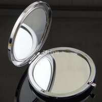 Wholesale Compact Mirror Silver Round - 500PCS Metal Pocket Mirror Makeup Fold Round Crystal Compact Mirror Portable Cute Metal Double Side Mirror Wedding Gifts 12Color #sl1141