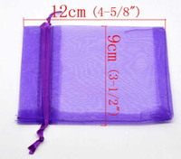 Großhandels-100Pcs 9x12cm Dark purple Drawable Organza Wedding Gift Schmuck BagsPouches (über $ 110 Gratis-Express)